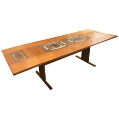 Gangsø Møbler Danish Teak Tile Top Drop-Leaf Dining Table
