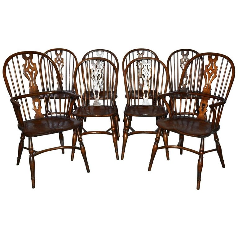Set of Eight Georgian Style Windsor Dining Chairs For Sale