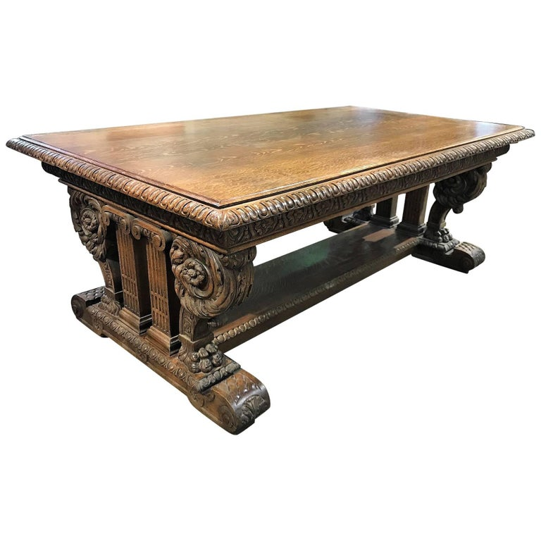 Antique American Carved Oak Library or Trestle Table, circa 1900