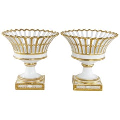 Pair of 19th Century Restauration Period Gilt Porcelain Reticulated Compotes