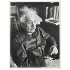 One of the Most Famous Photographs of Albert Einstein, Signed by Lotte Jacobi