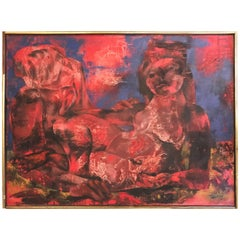 Joseph Wolins Painting Titled Two Figures ii American Red and Blue Colors
