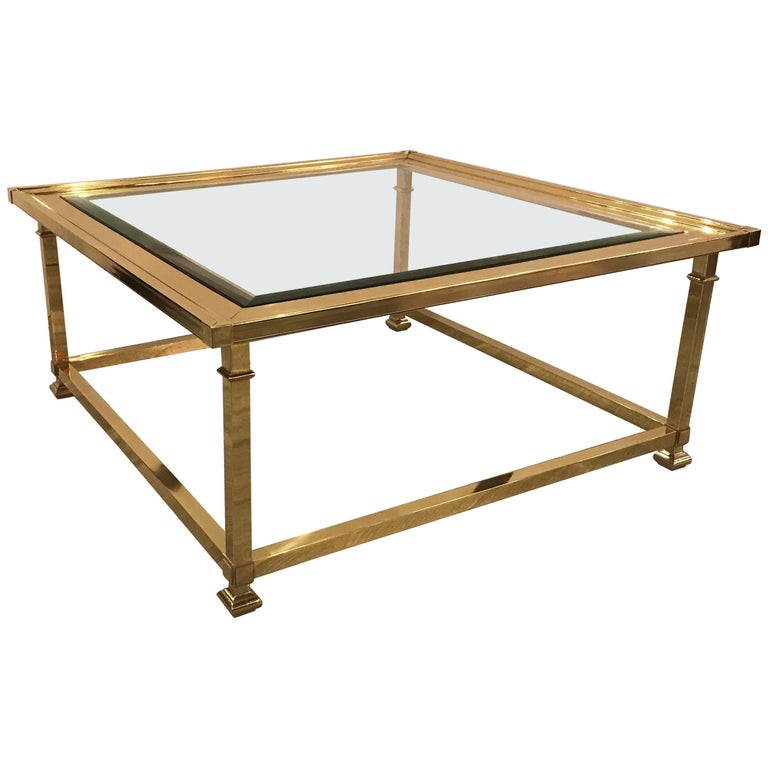Large Square Brass and Glass Cocktail Table by Mastercraft