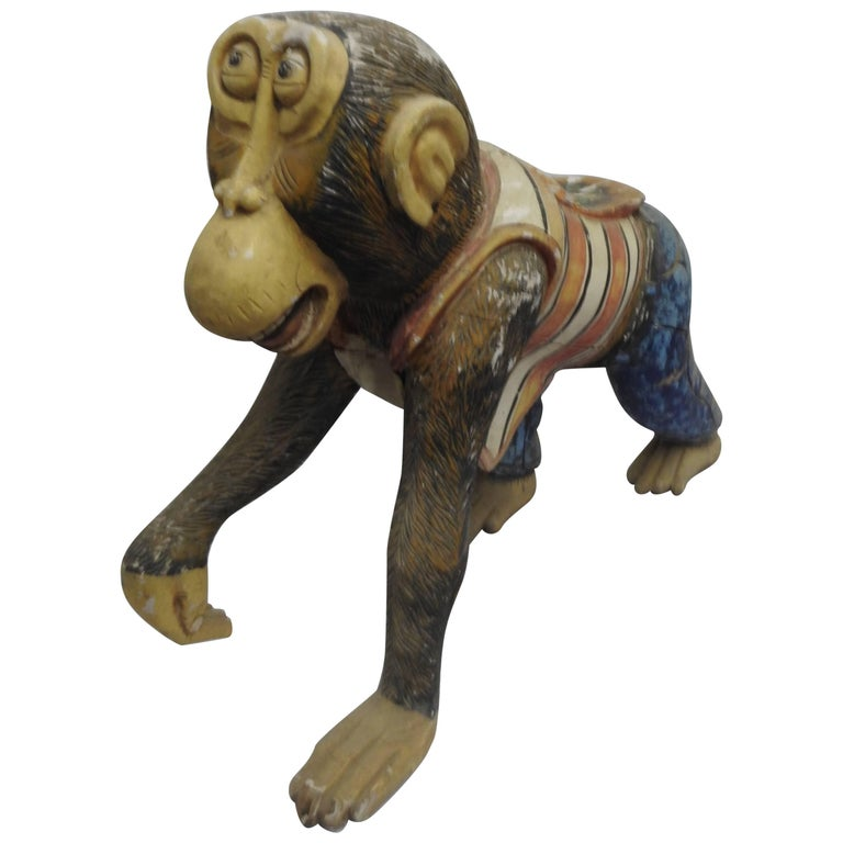 19th Century Hand-Carved Carnival Monkey