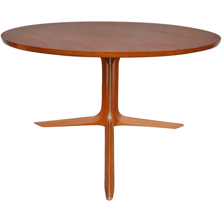 Peter Hvidt And Orla M Lgaard Nielsen Compact Round Silver Line Teak Coffee Table At 1stdibs