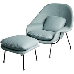 Newly Upholstered Womb Chair and Ottoman by Eero Saarinen for Knoll, circa 1950