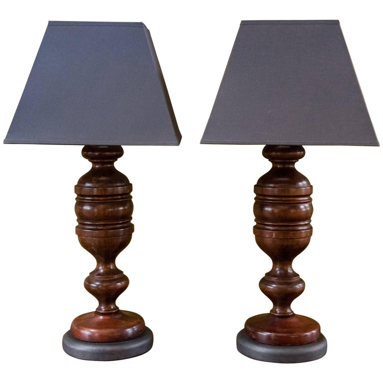 Pair Carved Mahogany Table Lamps with Custom Belgian Linen Shades, Circa 1920 For Sale