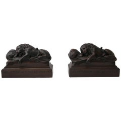 Pair of Carved Wood Book Ends Depicting the Swiss Guard Lions of Lucerne, France