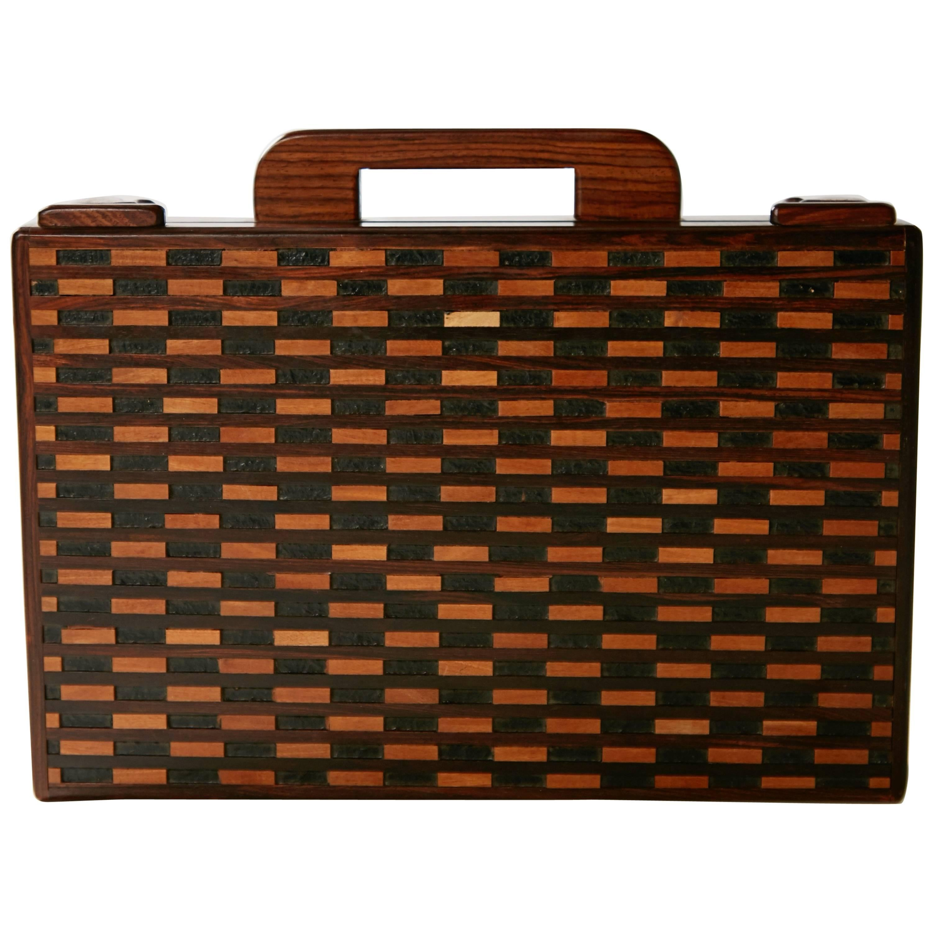 Don Shoemaker Exotic Wood Inlaid Decorative Briefcase for Señal, circa 1970