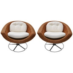 Pair of Bohemian Swivel Chairs in Woven Wicker and Polished Chrome