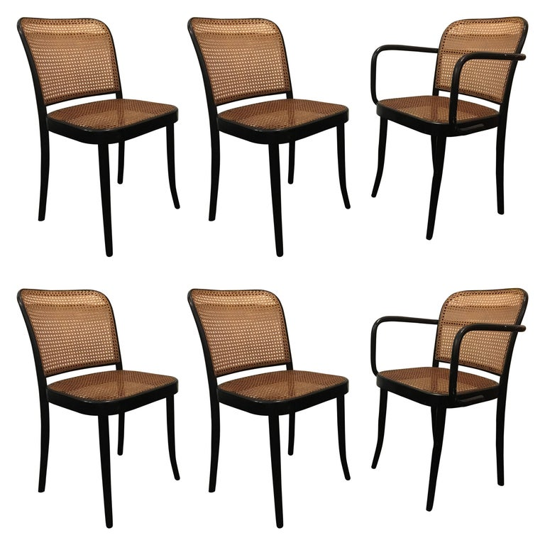 Set of Six Modern Cane Dining Chairs Josef Frank For Sale