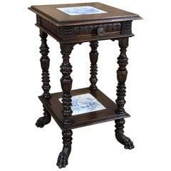 19th Century Blue Delft Dutch Renaissance Lamp Table with Delft Tiles