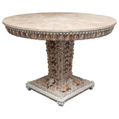 Shell Encrusted Center Table with Travertine Top