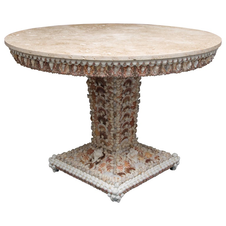 Shell Encrusted Center Table with Travertine Top For Sale