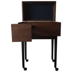 After Midnight Liquor Cart by MSJ Furniture, walnut case with leather and brass