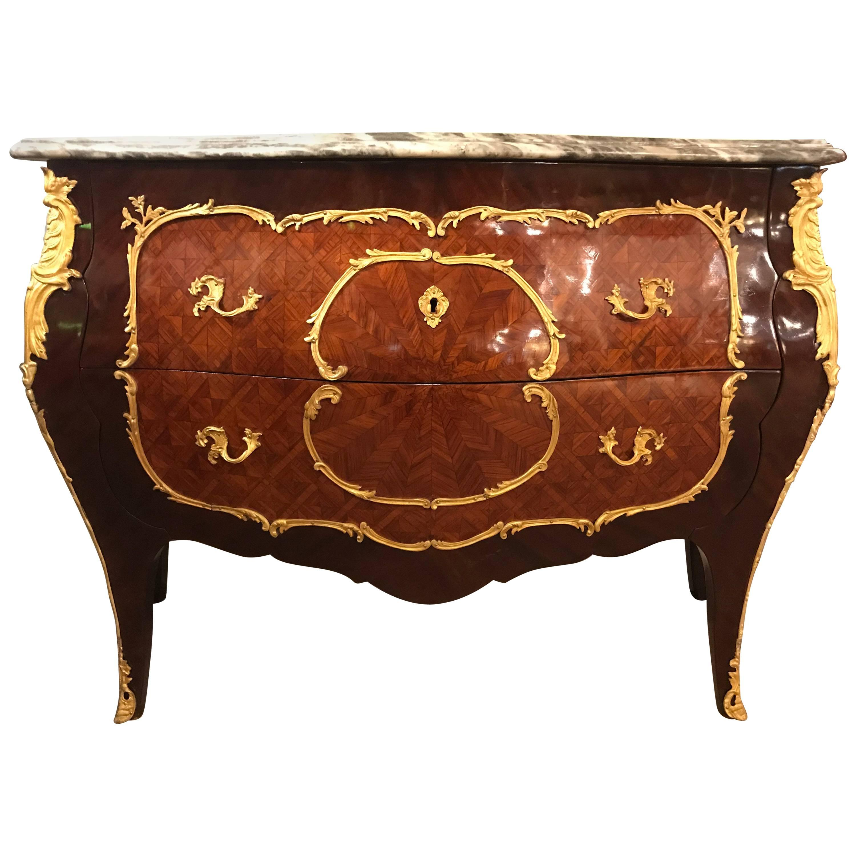 Vintage Bombe Parquetry Bronze-Mounted Commode with Ogee Marble Top