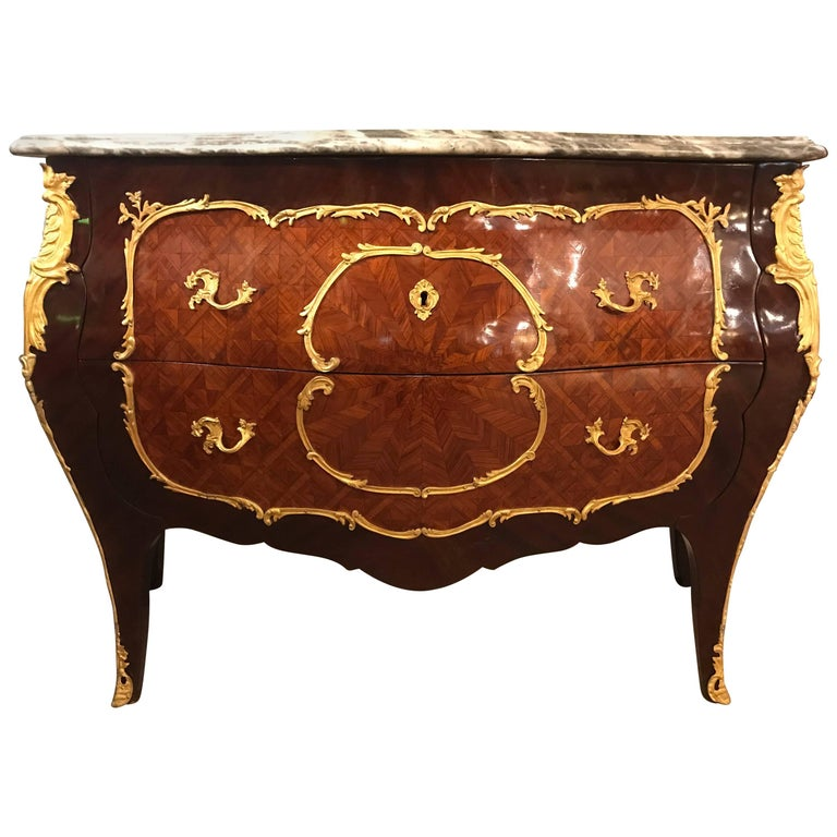 Vintage Bombe Parquetry Bronze Mounted Commode With Ogee Marble Top