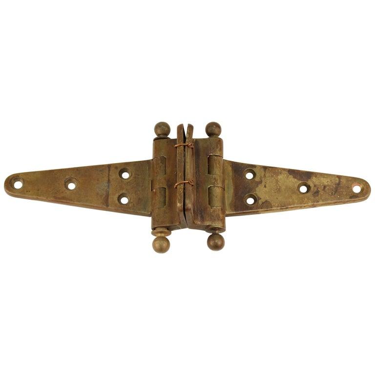 Industrial Style Vintage Brass Door Hinge For Sale