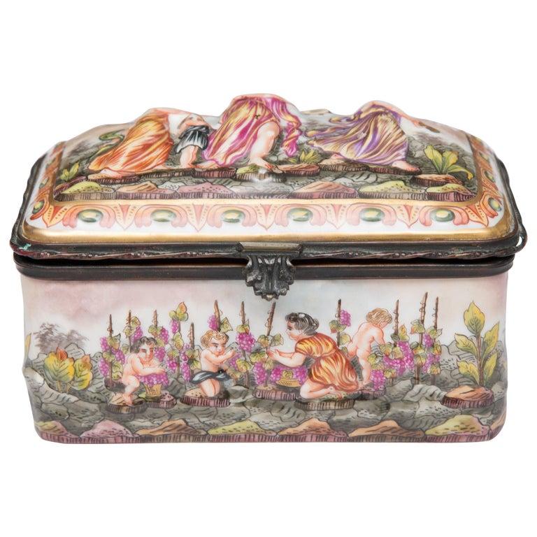 Capodimonte Porcelain Decorated Lidded Box