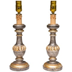Pair of Silver and Parcel Gilt Candle Sticks as Lamps