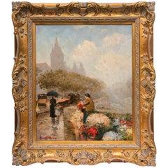 Oil on Canvas of European Flower Seller