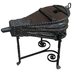 19th Century Forge Bellows on Wrought Iron Stand