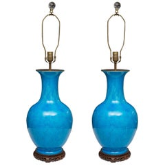 Pair of 19th Century Chinese Turquoise Vases as Table Lamps