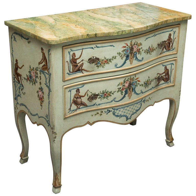 Venetian Hand-Painted Serpentine Commode For Sale