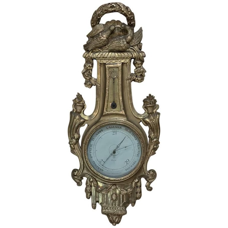 18th Century Giltwood Hand-Carved Barometer - Thermometer