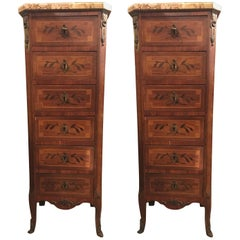 Pair of 19th Century Tall Lingerie Louis XV Style Chests or Pedestals Chests
