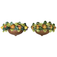Pair of Italian Terracotta Wall Pockets with  Glazed Fruit Decoration
