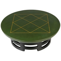 Leather Coffee Table with Gold Detail by Muller & Berringer for Kittinger