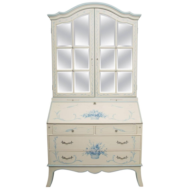 Custom Hand-Painted Secretary Desk with Mirrored Doors For Sale