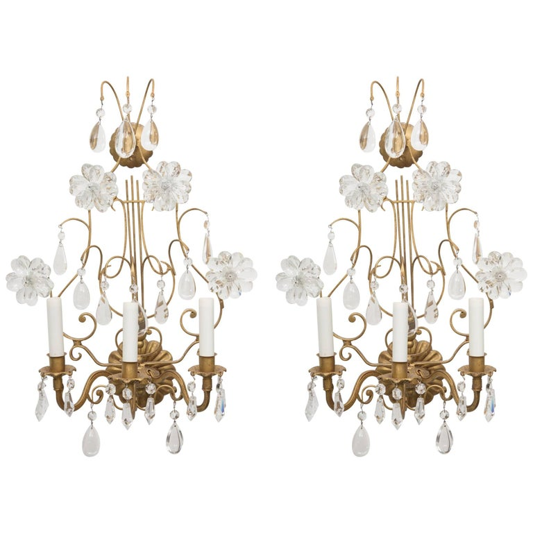 Pair of Italian Gilt Metal and Crystal Electrified Sconces