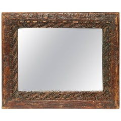20th Century Small Hand-Carved Indonesian Mirror
