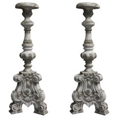 Pair of Italian 19th Century Carved Pedestal Stands