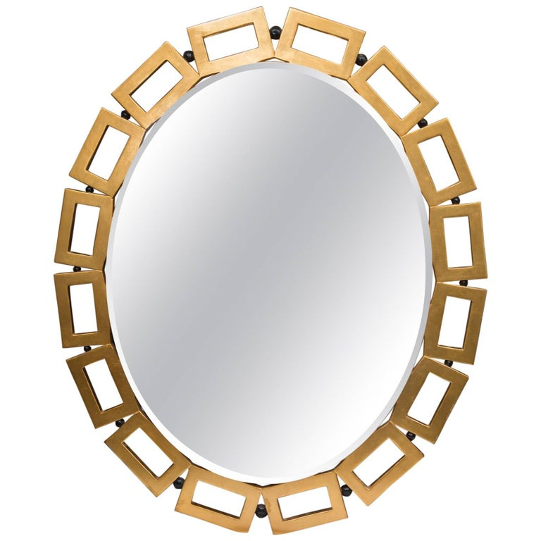 Custom Gilt Oval Mirror For Sale