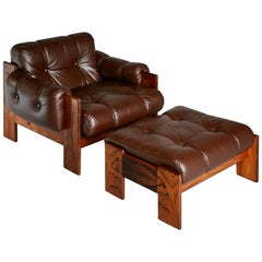 Tufted Leather Lounge Chair and Ottoman by Kalustekiila, Finland, circa 1950