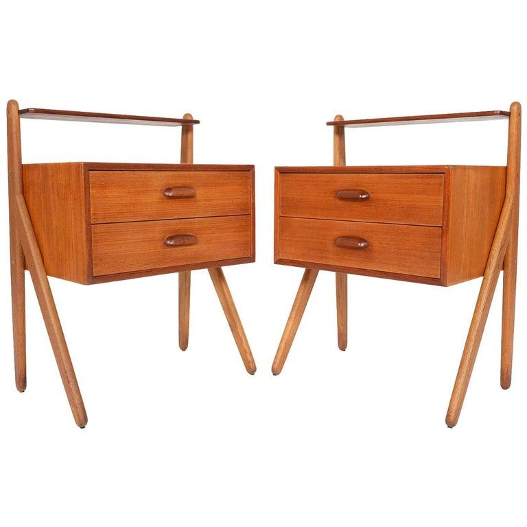 Pair of danish modern teak and oak nightstands by lholm m belfabrik for sale at 1stdibs for Danish teak bedroom furniture