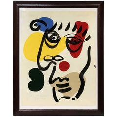 Peter Keil 'Mephisto' Framed Abstract Portrait Painting