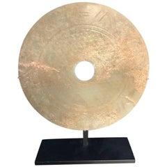 Important Ancient China Jade Bi Disc, Han Dynasty 206 BC- 220 AD