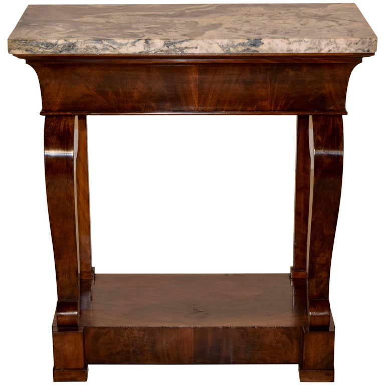 19th Century French Small Console with Marble Top