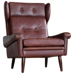 Sven Skipper High Back Winged Arm or Lounge Chair in Chestnut Brown Leather