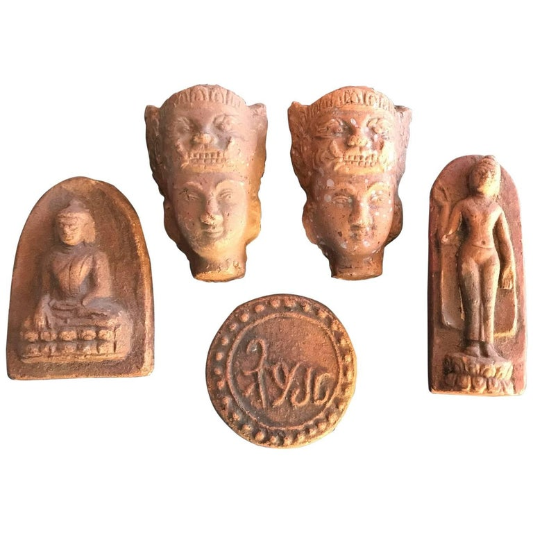 Collection Burmese Antique Buddhist Prayer Offering Votives Five Pieces