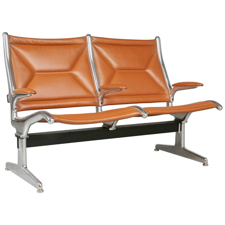 Edelman Leather Two-Seat Tandem Sling by Charles Eames for Herman Miller