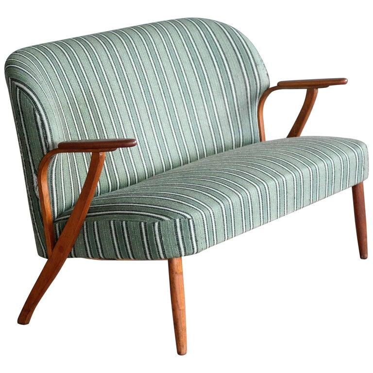 Danish Midcentury Sofa with Teak Armrests in the Style of Kurt Olsen for Bramin