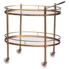 Hollywood Regency Brass Bar Cart