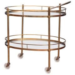 Hollywood Regency Brass Bar Cart