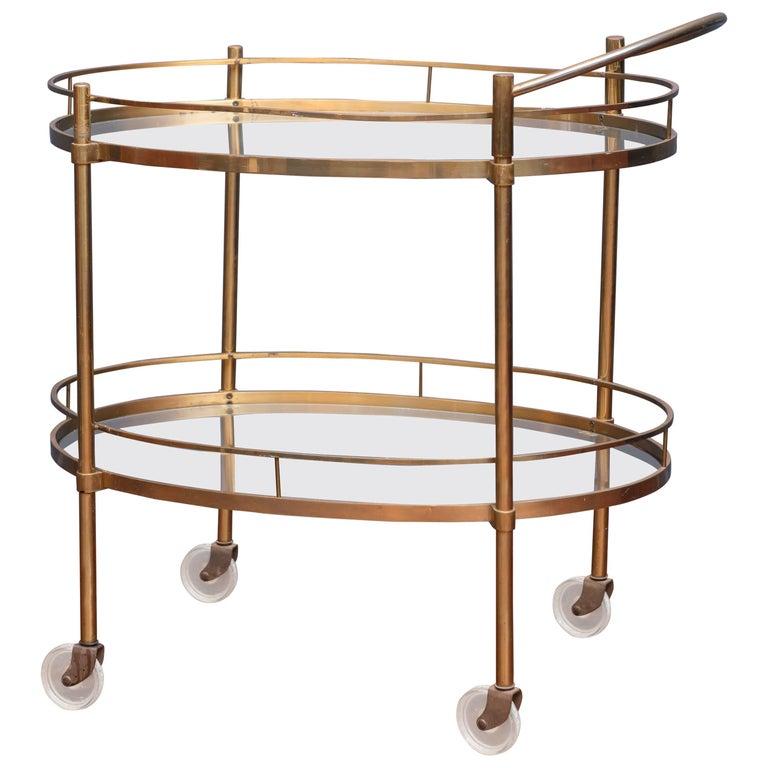 Hollywood Regency Brass Bar Cart 1