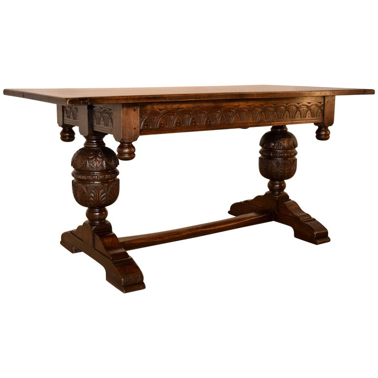 19th Century English Oak Trestle Table